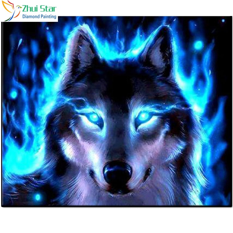 5D DIY Diamond Painting Electric Blue Flame Wolf - craft kit