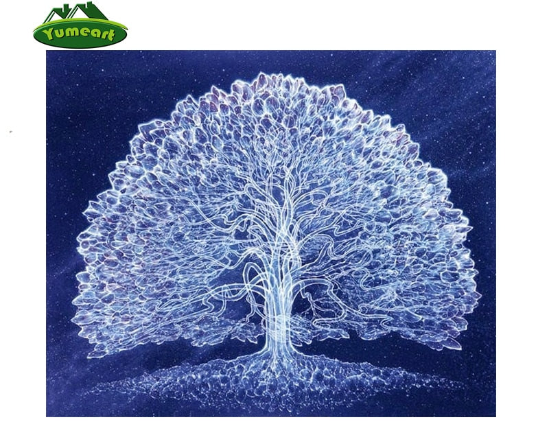 3D DIY Diamond Painting White Tree on Sapphire Blue - craft kit
