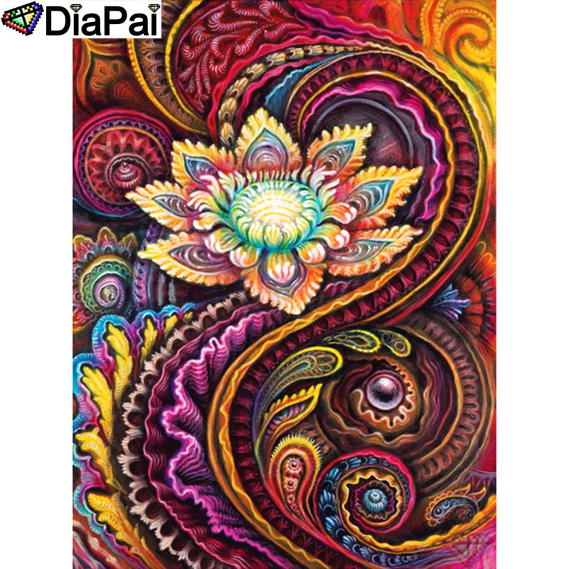 DIY Diamond Painting Paisley Lotus Fractal - craft kit