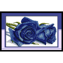 DIY Rose Lover Blue or Red Counted or Stamped Cross Stitch - thread kit
