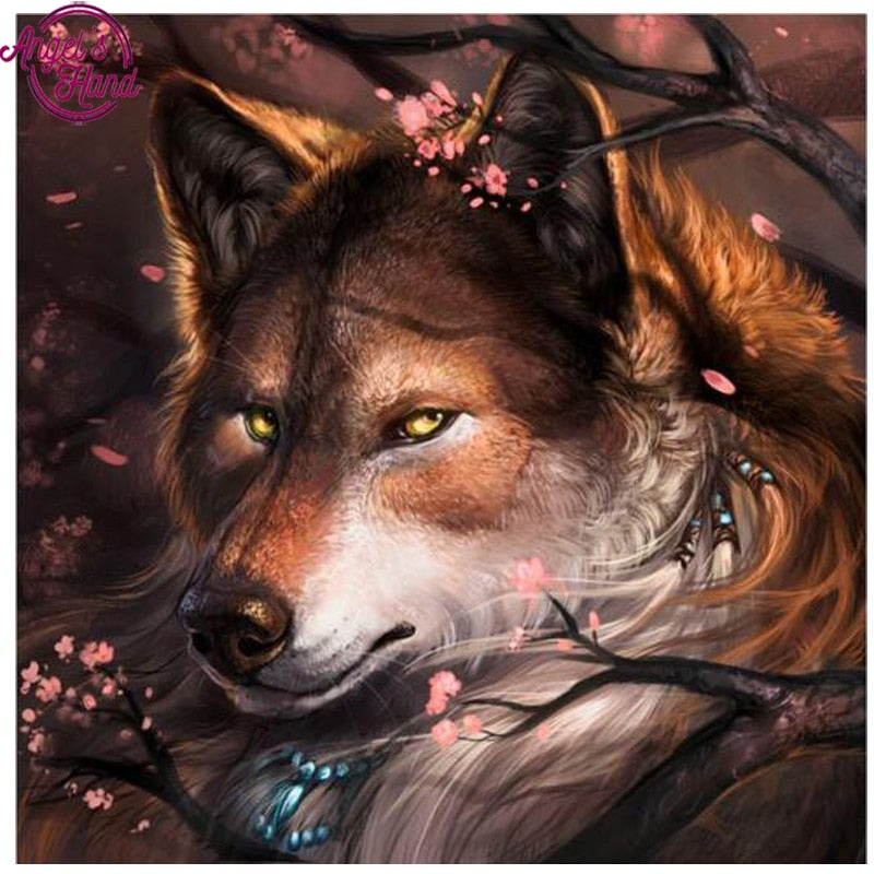 5D DIY Diamond Embroidery Brown Wolf Drawing - craft kit
