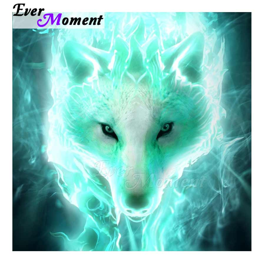 DIY Diamond Painting Frosty Aqua Blue Wolf - craft kit