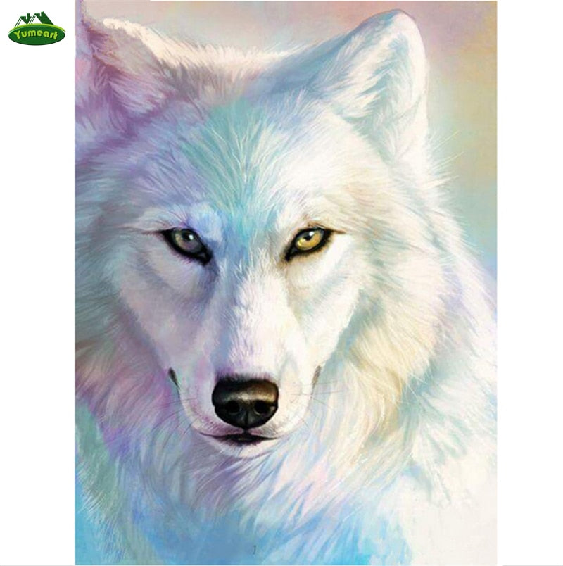 5D DIY Diamond Painting White Wolf Drawing - craft kit