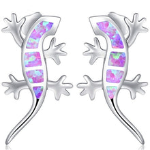 Silver Tone Fire Opal Gecko Lizard Earrings in 5 color options