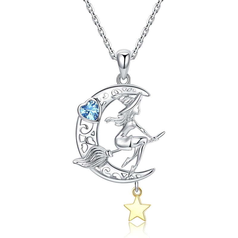 925 Sterling Silver Witch and Moon Pendant Necklace