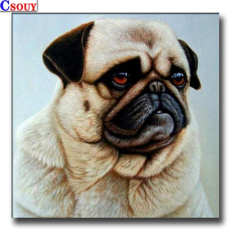 5D DIY Diamond Painting Tan Pug Drawing - craft kit