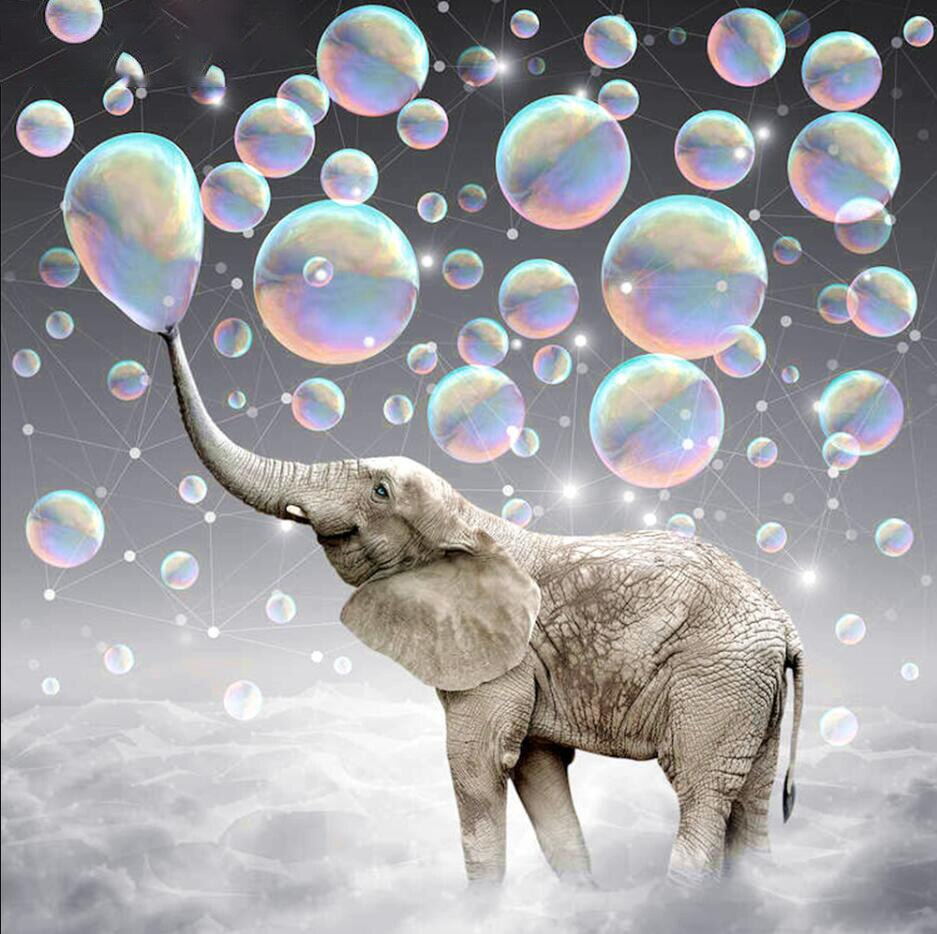 5D DIY Diamond Painting Elephant Blowing Bubbles - craft kit