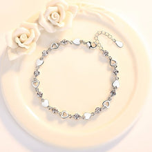 925 Sterling Silver Heart and CZ Bracelet Purple or Clear