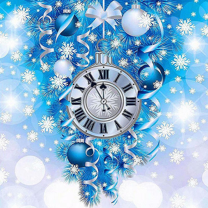 5D DIY Diamond Painting Blue Christmas Clock - craft kit