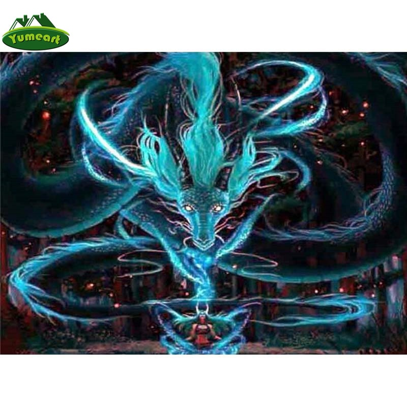 5D DIY Diamond Painting Blue Swirl Dragon - craft kit