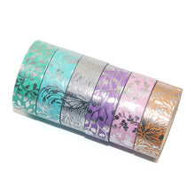 Floral Washi Tape Silver Foil 6 Roll Set