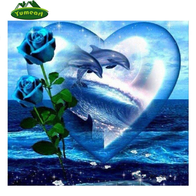 5D DIY Diamond Painting Blue Roses Dolphins in Heart - craft kit