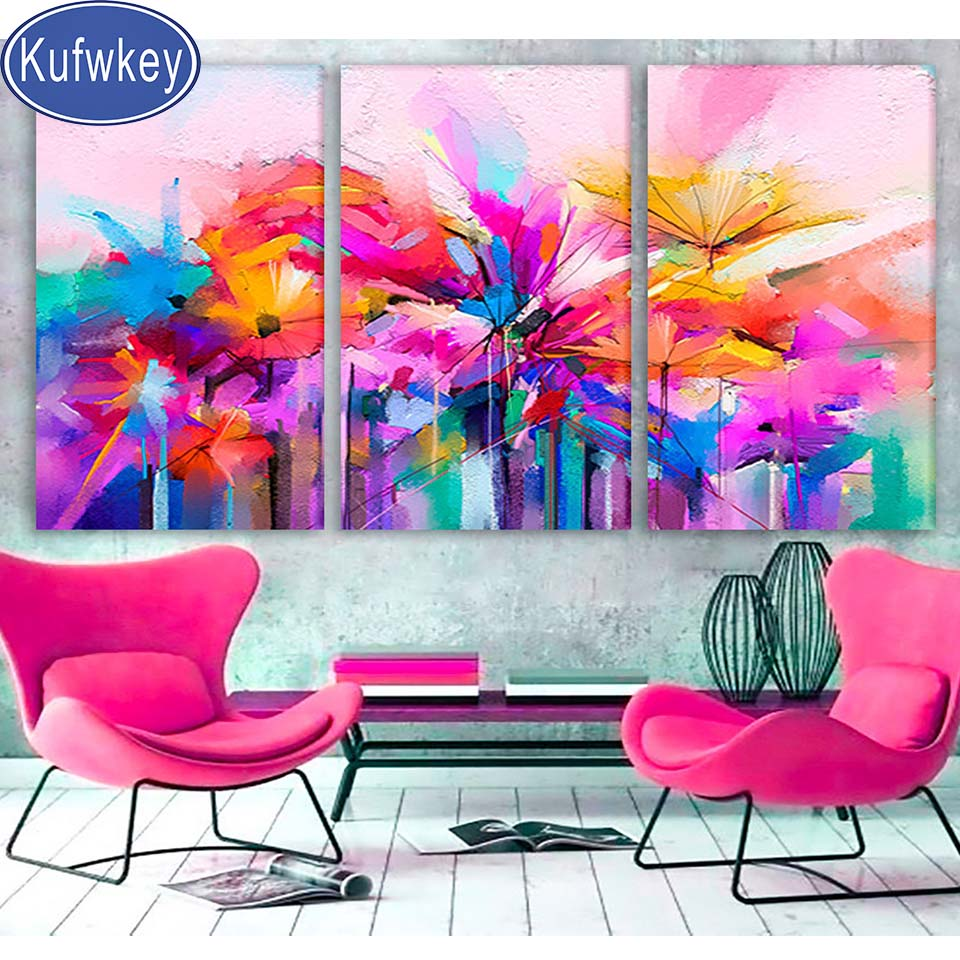 3D DIY Diamond Painting Pink Abstract Watercolor Flowers Multi Panel - craft kit