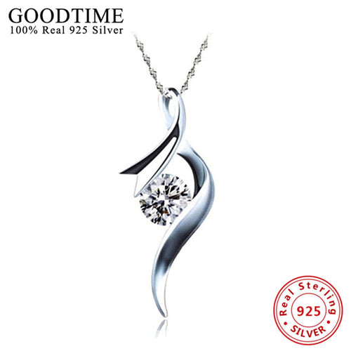 Goodtime Women's Sterling Silver 925 Asymmetrical Swirl Pendant with CZ Necklace