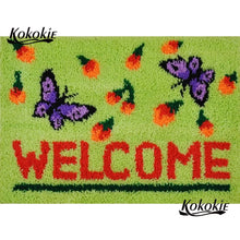 DIY Latch Hook Green Welcome with Butterflies - craft kit