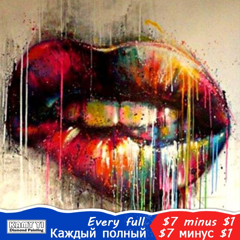5D DIY Diamond Painting Graffiti Rainbow Lips - craft kit