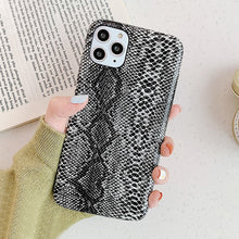 LACK Apple Iphone Snake Skin Leather Phone Case for Model 7 through 12