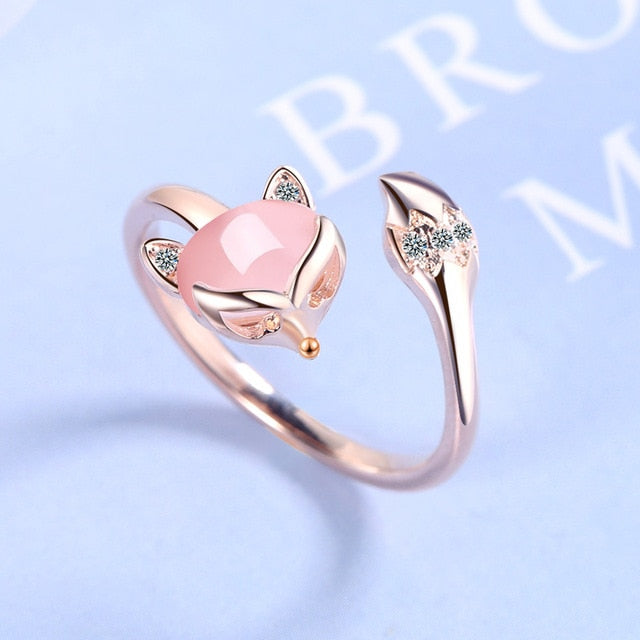 Silver or Gold Tone Pink Adjustable Fox Ring
