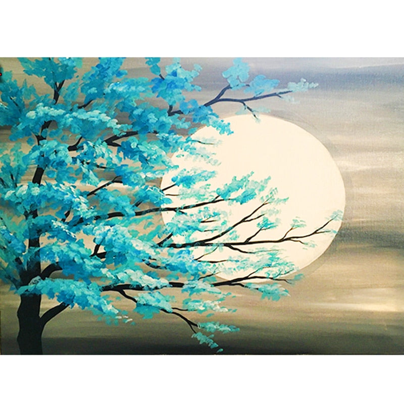 5D DIY Diamond Painting Aqua Leaves In The Moonlight - craft kit
