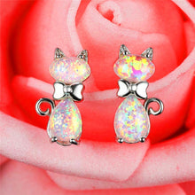 Silver Tone Crystal Cat with Bow White Fire Opal Earrings