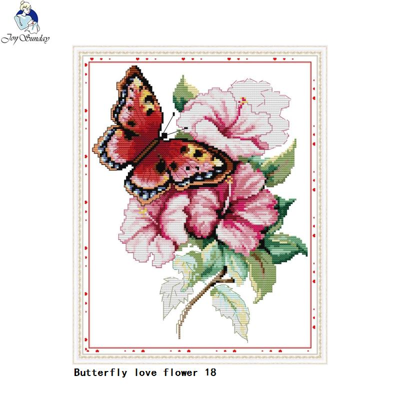 DIY Counted or Stamped Cross Stitch Butterfly Love Flower - thread craft kit