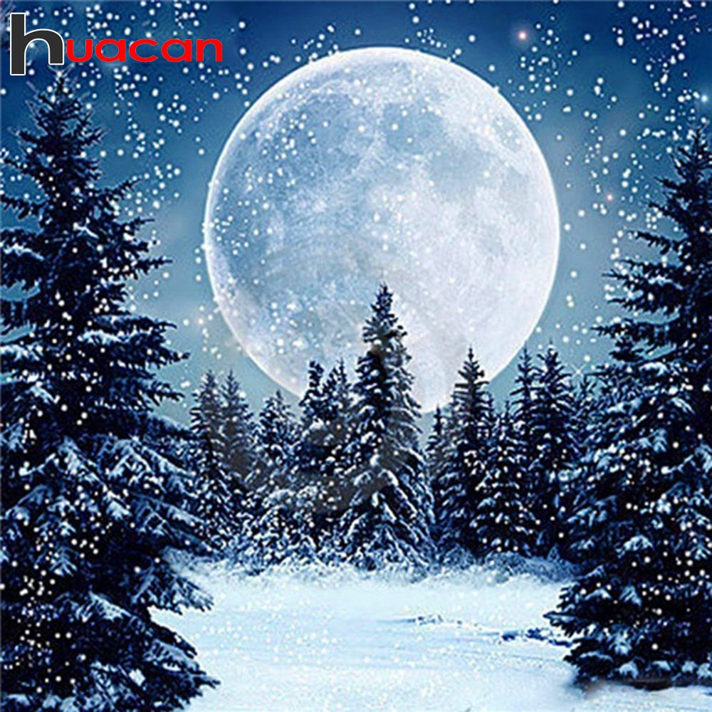 3D DIY Diamond Painting Big Moon in Snowy Forest -  craft kit