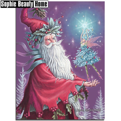 5D DIY Diamond Painting Olden Time Santa and Fairy - craft kit