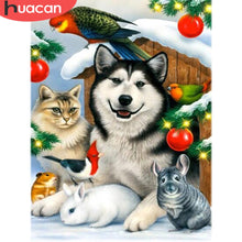 5D DIY Diamond Painting Husky Friends at Christmas - craft kit