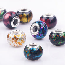 10Pcs Mixed Dark Color Murano Lampwork and Silver Pandora Style Beads