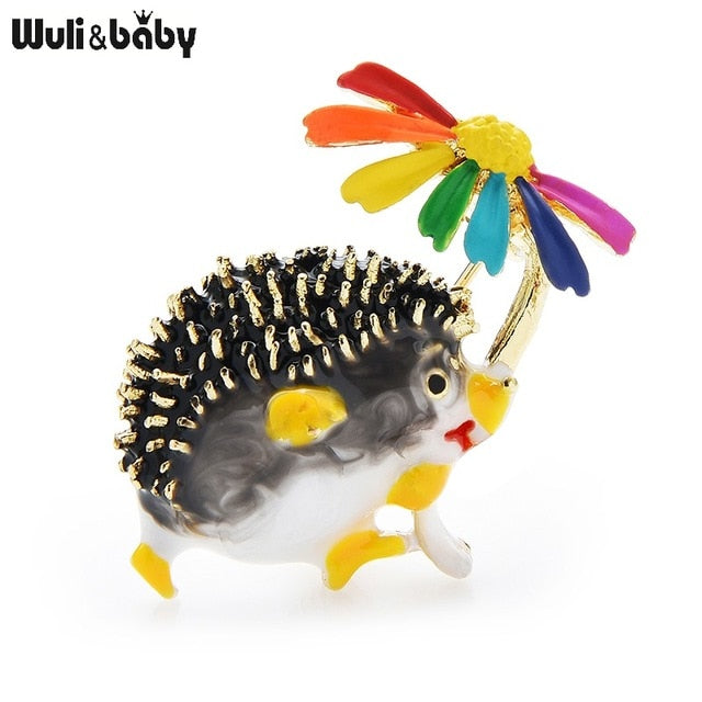 Enamel Hedgehog with Daisy Brooch 8 options