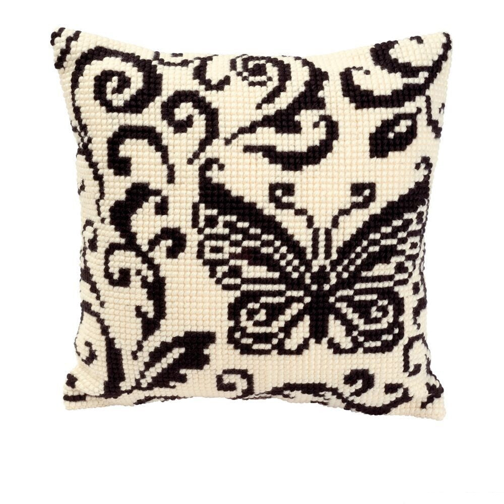 DIY Cross Stitch Cream and Black Butterfly Pillow - yarn kit
