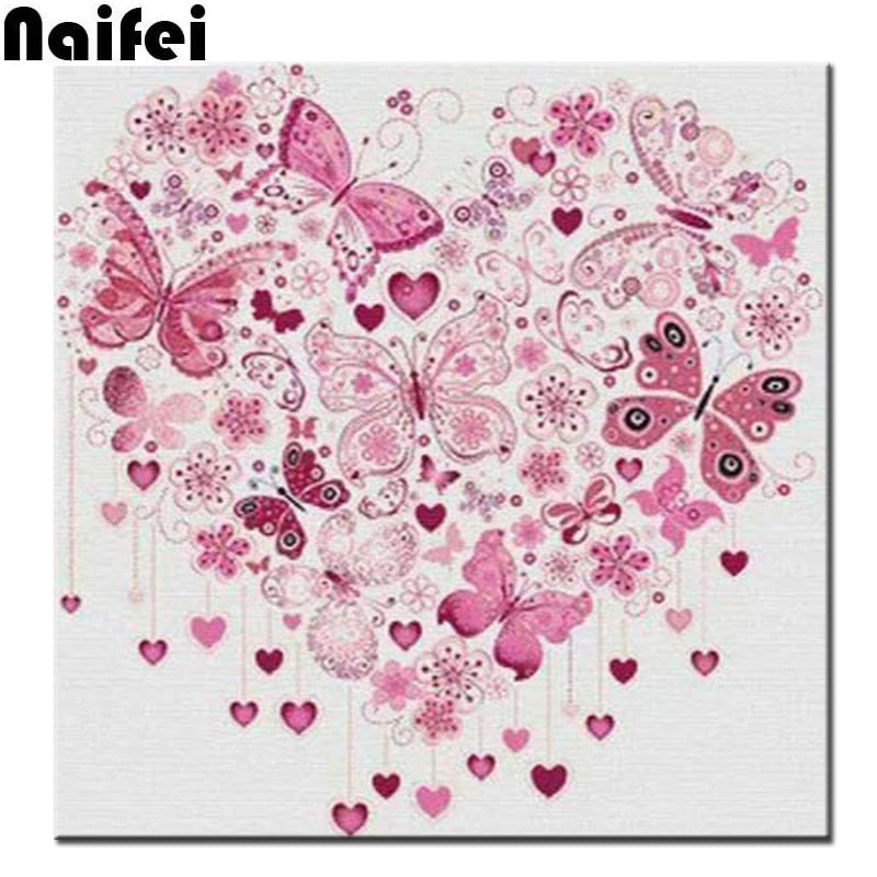 5D DIY Diamond Painting Pink Butterfly Hearts - craft kit