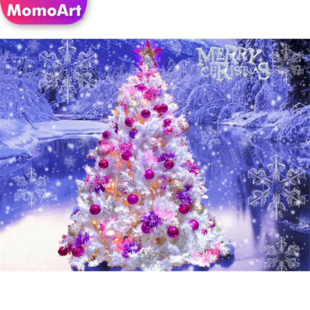 5D DIY Diamond Painting Pink and Purple Christmas Tree - craft kit