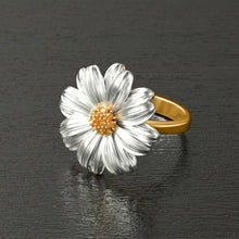 Huitan Two Tone Sunflower with Orange CZ Ring
