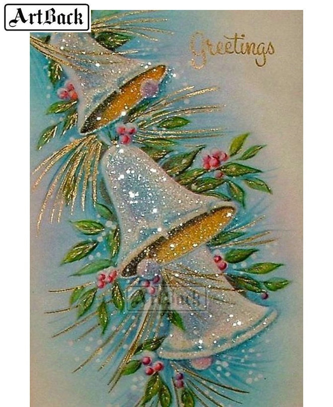 5D DIY Diamond Painting White Christmas Bells - craft kit