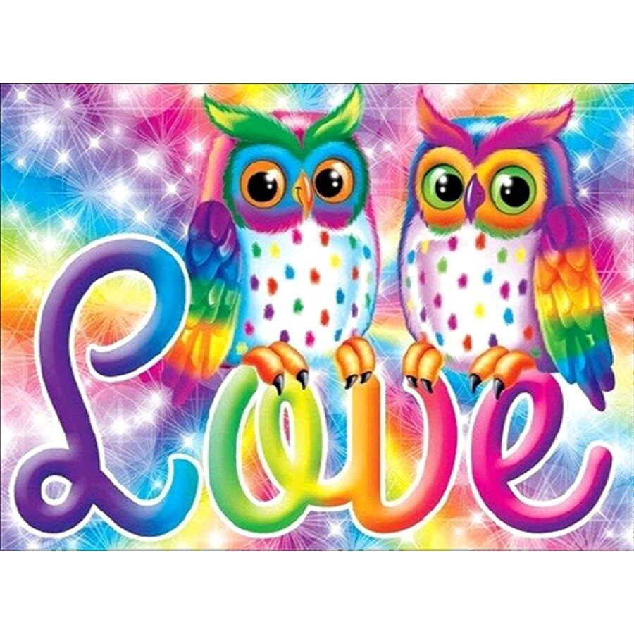 5D DIY Diamond Painting Rainbow Love Owls - craft kit