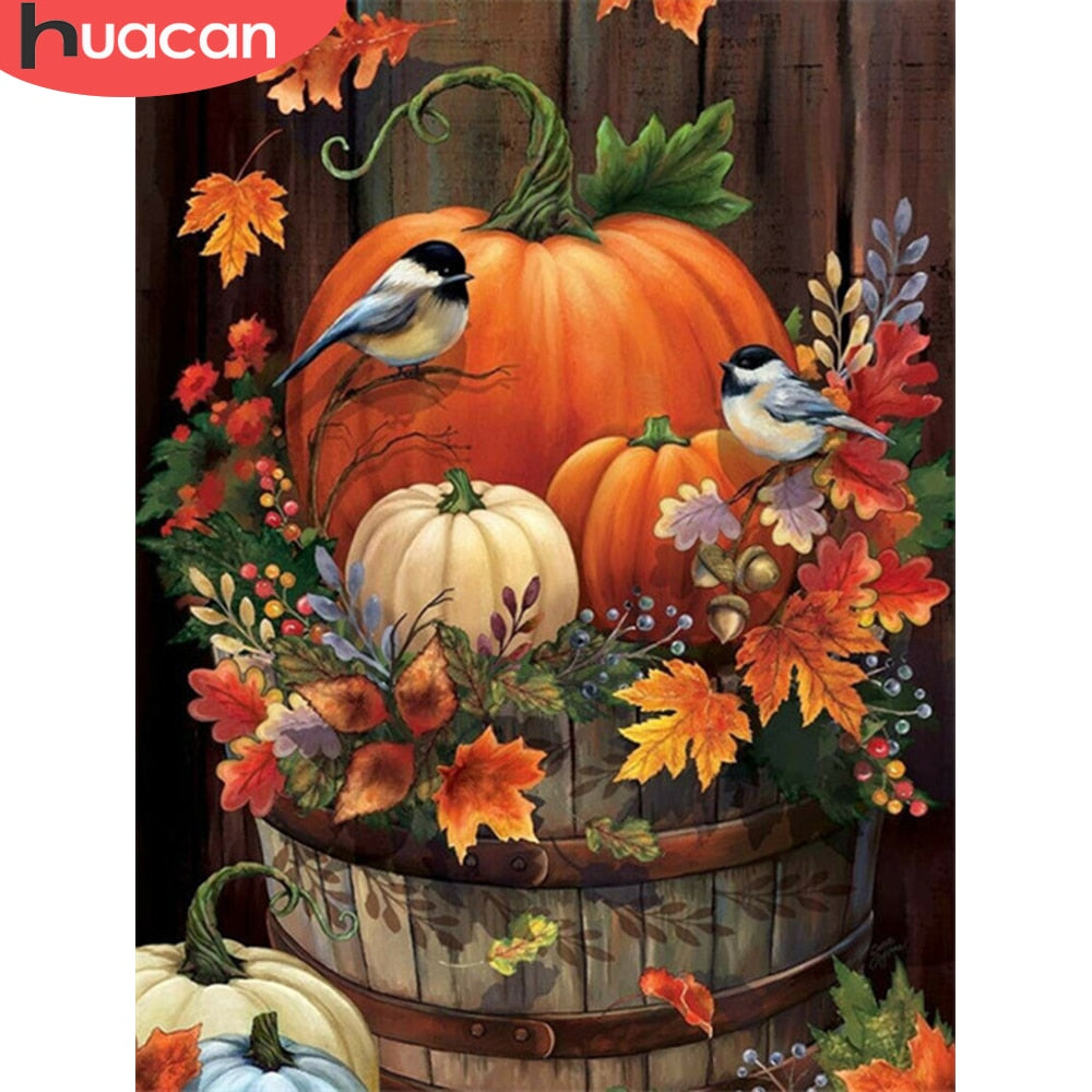 DIY Diamond Painting Chickadees in Garden Pumpkins - craft kit