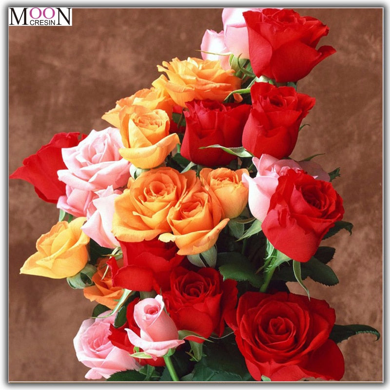 5D DIY Diamond Painting Bright Stemmed Roses - craft kit