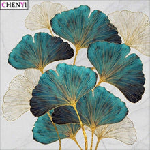 5D DIY Diamond Painting Turquoise Ginkgo Leaves - craft kit