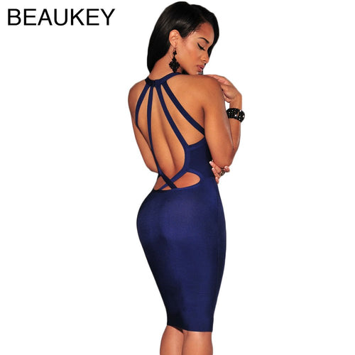 Beaukey Sexy Women's Spaghetti Straps Bodycon Bandage Dress 5 Color Options