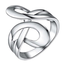 925 Silver Stamped Abstract Swirl Ring