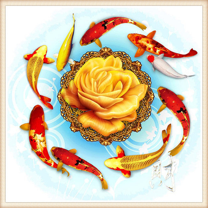 5D DIY Diamond Painting Koi Fish Around Yellow Peony- Craft Kit