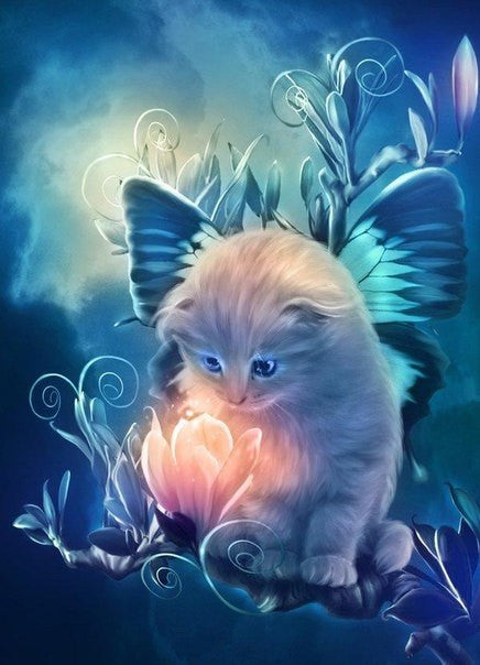 5D DIY Diamond Painting Fairy Cat w Magic Flower Bloom - Craft Kit