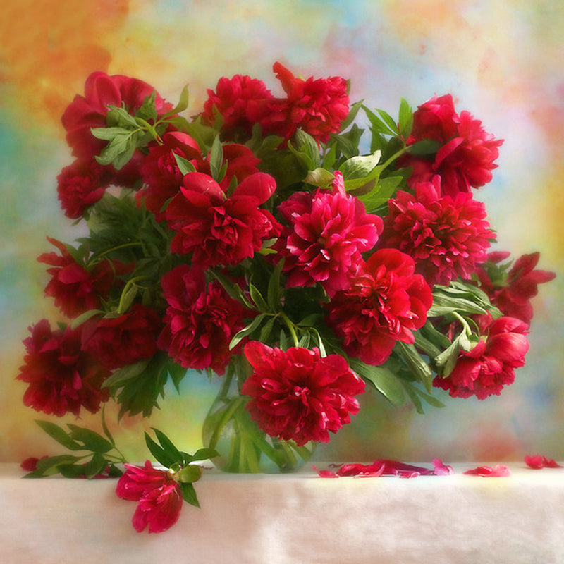 5D DIY Diamond Painting Dark Red Peonies in Vase - craft kit