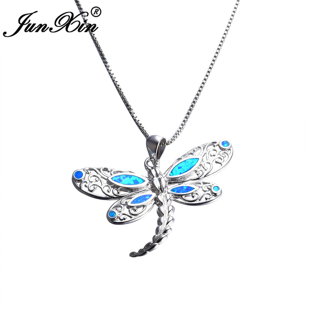 JUNXIN Women's 925 Sterling Silver Filled Dragonfly Blue Opal Pendant Necklace