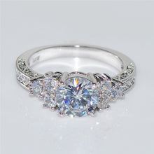 Anel Aneis White Gold Filled Princess Engagement Style Women's Ring
