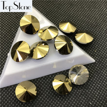 TopStone Gold or Jet Hematite Color Glass Rivoli 6mm through 18mm