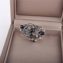 Ajojewel Black Crystal Marcasite Style Large Flower RIng