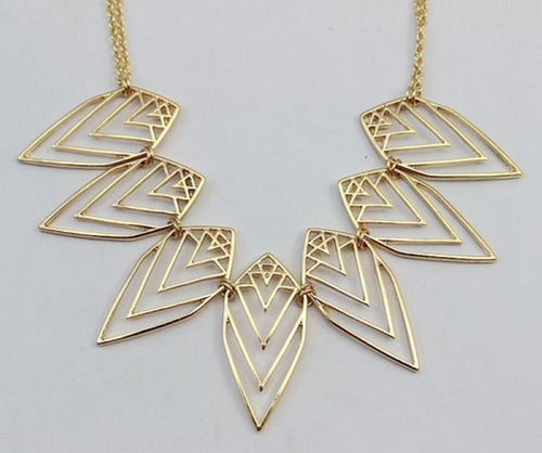 Women's Openwork Gold Tone Geometric Leaves Necklace