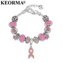 KEORMA Women's Breast Cancer Awareness Pink Ribbon Charm Bracelet